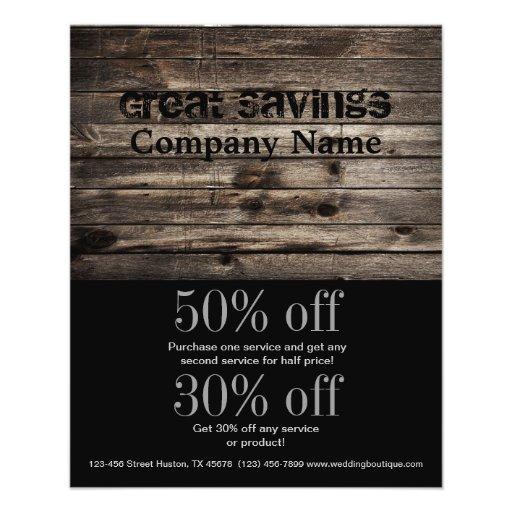 grunge vintage wood grain construction business personalized flyer
