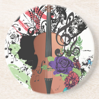 Grunge Violin Illustration2 Coaster