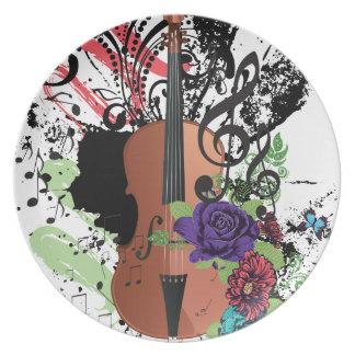 Grunge Violin Illustration2 Plate