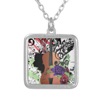 Grunge Violin Illustration2 Silver Plated Necklace