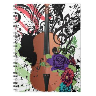 Grunge Violin Illustration2 Spiral Notebook
