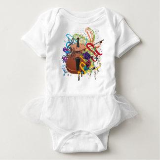 Grunge Violin Illustration Baby Bodysuit