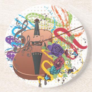 Grunge Violin Illustration Coaster