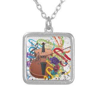 Grunge Violin Illustration Silver Plated Necklace