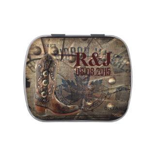 grunge Wagon Wheel western cowboy wedding Jelly Belly Candy Tin