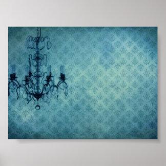 Grunge Wallpaper Chandelier 3 Poster
