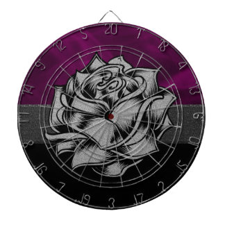 Grunge White Rose with Purple Smoky Background Dartboards