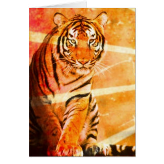 grunge wild animal vintage Japanese sun ray Tiger Card