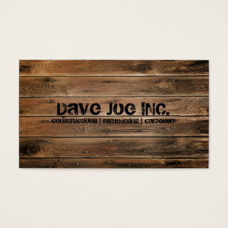 grunge wood texture Construction Carpentry Business Card