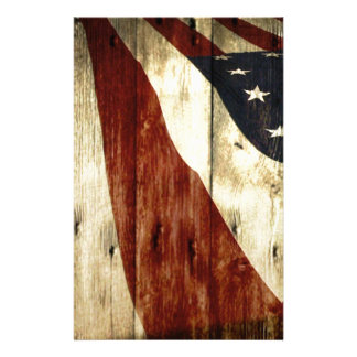 Grunge woodgrain USA American Flag Patriotic Custom Stationery