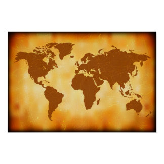 Grunge World Map Poster