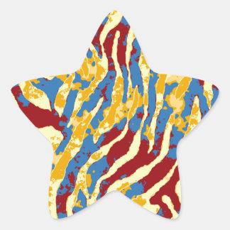 GRUNGE ZEBRA STAR STICKER