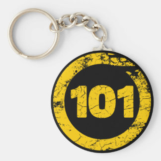 Grungy 101 basic round button key ring