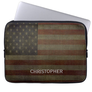 Grungy American Flag with Linen Finish and Name Laptop Sleeve
