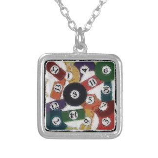 GRUNGY BILLIARDS BALLS SILVER PLATED NECKLACE