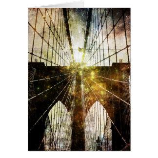 Grungy Blur Brooklyn Bridge Greeting Cards