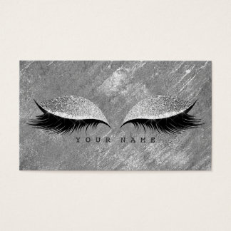 Grungy Distressed Silver Cement Gray Lashes Makeup Business Card