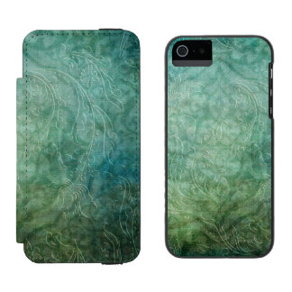 Grungy Embossed Teal Blue Damask Incipio Watson™ iPhone 5 Wallet Case