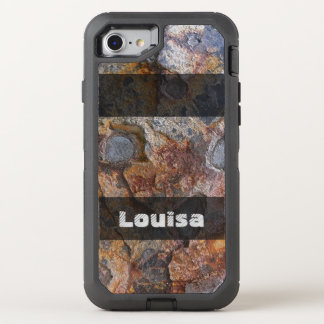 Grungy Geology Rusty Rock Structure any Text OtterBox Defender iPhone 8/7 Case