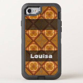 Grungy Geometric Floral Ceramic Tiles any Text OtterBox Defender iPhone 8/7 Case