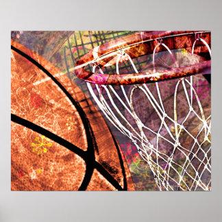 Grungy Girly Basketball Poster