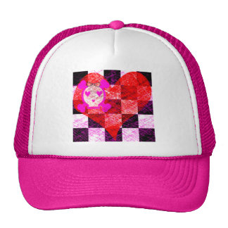 GRUNGY GIRLY SKULL HEART CHECKERS TRUCKER HATS