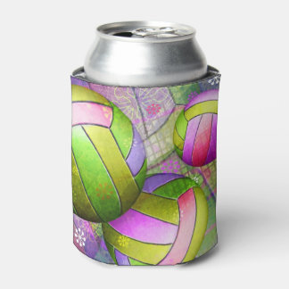 Grungy Girly Volleyball Can Cooler