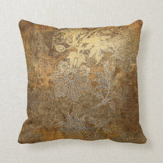 Grungy Golden Bronze Vintage Floral Ornament Throw Pillow