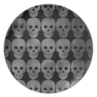 Grungy gothic skulls Halloween kitchen decor Party Plates