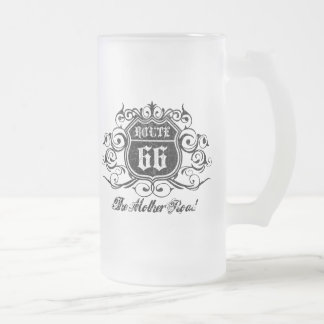 Grungy Graphic Rte. 66 Frosted Glass Mug