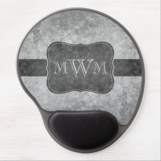 Grungy gray monogram gel mouse pad