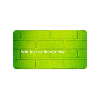 Grungy Green Brick Wall Label