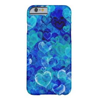 Grungy hearts in blue shades iPhone 6 case Barely There iPhone 6 Case