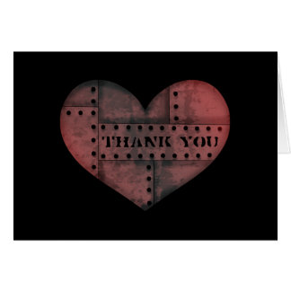 Grungy industrial punk heart thank you Valentine Card