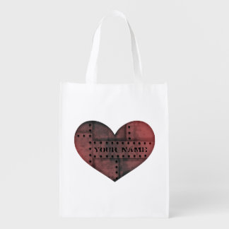 Grungy industrial punk heart Valentines Day Reusable Grocery Bag
