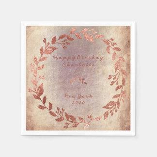 Grungy Ivory Purple Rose Pink Gold Birthday Disposable Serviette