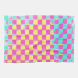 Grungy Lemonberry Mint Checkerboard Pattern Tea Towel