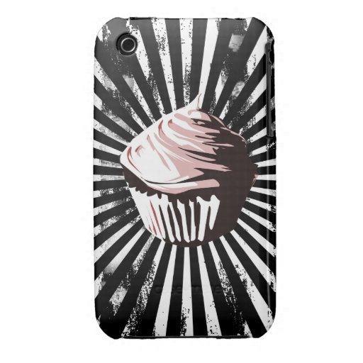 Grungy line blast pink cupcake iPhone 3 Case-Mate cases