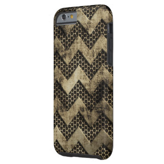 Grungy Metal Look Chevron Pattern Tough iPhone 6 Case