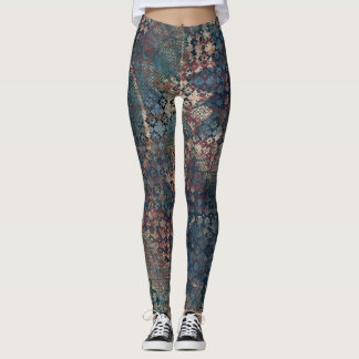 Grungy Patterns with Messy Patchwork of Textures Leggings