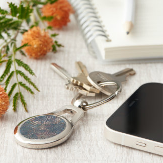 Grungy Patterns with Messy Patchwork of Textures Silver-Colored Oval Key Ring