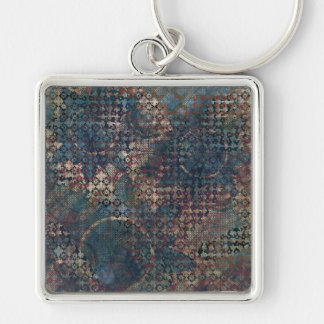 Grungy Patterns with Messy Patchwork of Textures Silver-Colored Square Key Ring