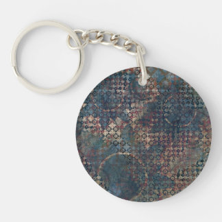 Grungy Patterns with Messy Patchwork of Textures Single-Sided Round Acrylic Key Ring