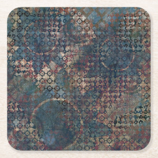 Grungy Patterns with Messy Patchwork of Textures Square Paper Coaster