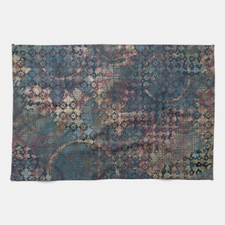 Grungy Patterns with Messy Patchwork of Textures Tea Towel