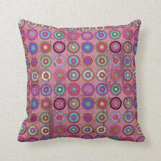 Grungy Pink Retro Circle Pattern Cushions
