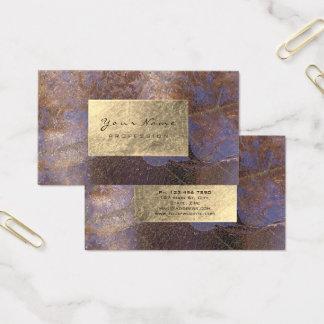 Grungy Purple Copper Gold Foil Botanical Delicate Business Card
