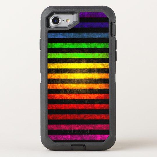 Grungy Rainbow Pattern OtterBox Defender iPhone 8/7 Case