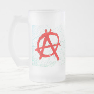 Grungy Red Anarchy Symbol Frosted Glass Beer Mug