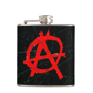 Grungy Red Anarchy Symbol Hip Flask